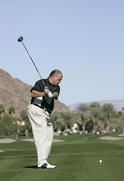 Rush Limbaugh in action during the third round of the Bob Hope Chrysler Classic held at the Palmer Private Course at PGA West in La Quinta, California