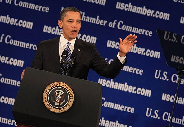 President Barack Obama speaks at the U.S. Chamber of Commerce on February 7, 201