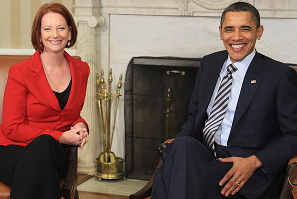 Australian Prime Minister Julia Gillard (L), meets with U.S. President Barack Obama in the Oval Office at the White House on March 7, 2011 in Washington, DC.