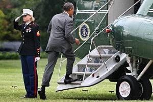 Obama Departs White House