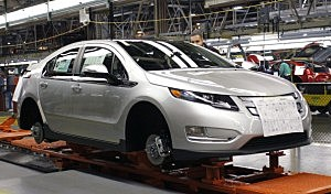 Chevy Volt on assembly line in Michigan
