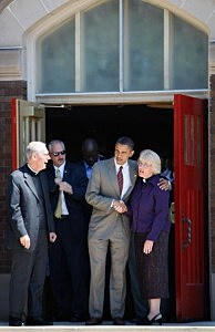 Obama campaigns at a church earlier this year