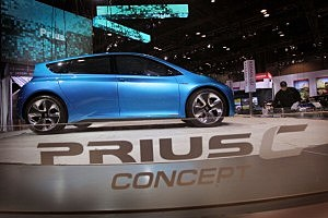 One of Google self driving Prius Automobiles