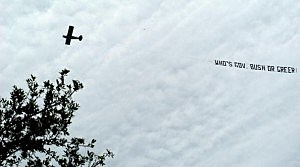 Airplane towing marriage propsal banner crashes