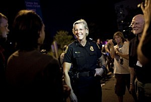 Tampa Police laugh as protestors ask for directions to next site