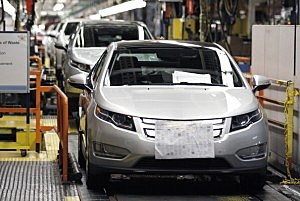 Chevy Volts  on assembly line
