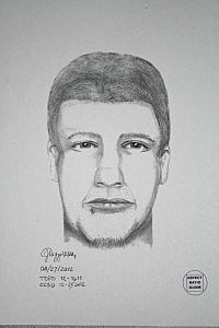 Sketch of Dalles Oregon murder suspect