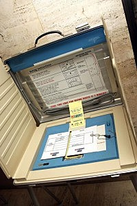 An older voting booth