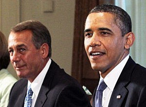 John Boehner (left) and GOP agree to debt ceiling suspension
