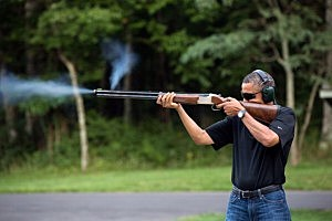 The Obama skeet shooting photo released by White House