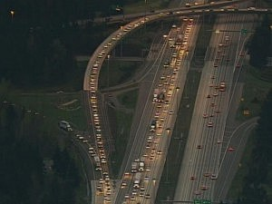 I-5 traffic backed up due to glue spill