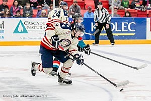 Lucas Nickels and the Americans fighting back vs. Kelowna