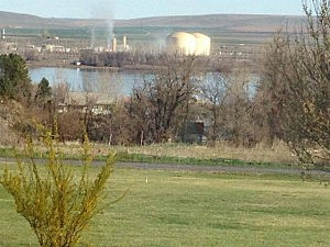 View of Plymouth natural gas explosion site - from across Columbia River