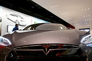 Tesla vehicle in showroom