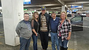 The Browns in Vegas with Michael Waltrip (middle) and their friends the Stillar family.