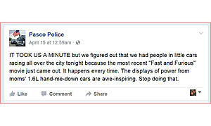 Fast and Furious post on Pasco Police Facebook page (Pasco Police)