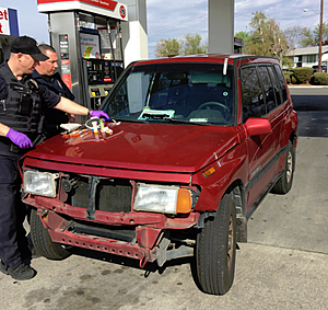 Suspects found passed out in this vehicle at a Richland gas station (Richland police)