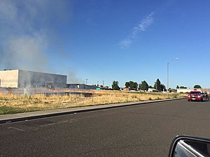 Brush fire triggered by fireworks behind Stevens Middle School, Pasco (Pasco police)