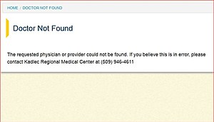 Doctor already removed from website (Kadlec Medical screen shot)