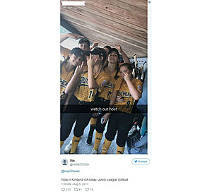 Controversial image by Atlee softball team (Snapchat social media)