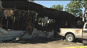Remains of Benton City trailer from July fire which last Friday claimed life of girl (KNDU-TV)