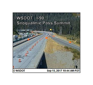 Teamsters strike resulted in road construction delays on Snoqualmie Pass Labor Day Weekend (WSDOT traffic cam)