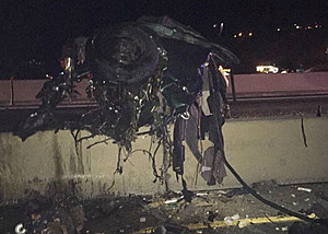 What's left of minivan after head on collision with semi on I-84 (Oregon State Patrol)