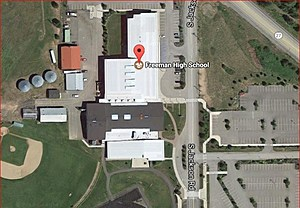 Minutes after school shooting at Freeman High School, emails arrived offering to sell security and other products (Google Earth)