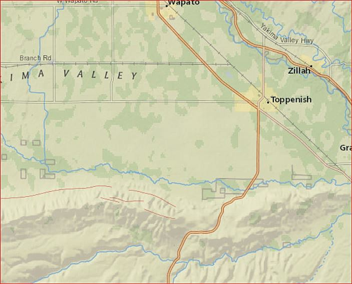 USGS map showing area of quake, about 18 miles Southwest of Toppenish (USGS)