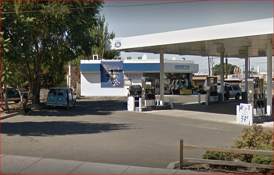 Western Gas in Toppenish, scene of Monday night shootout (Google Street View)